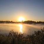 Sunrise and mist at Darby Bend Lakes (Dawn Archey)