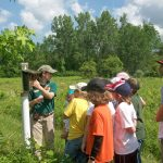 A park naturalist leads campers through the meadows at Sharon Woods to explain how bluebird boxes are monitored. (Laura Canegali)