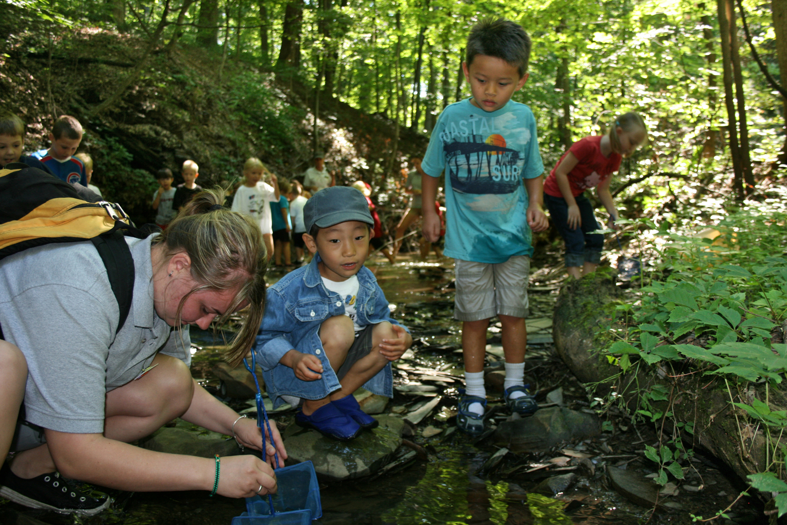 Camp counselor and campers search for critters in a ravine at Highbanks.