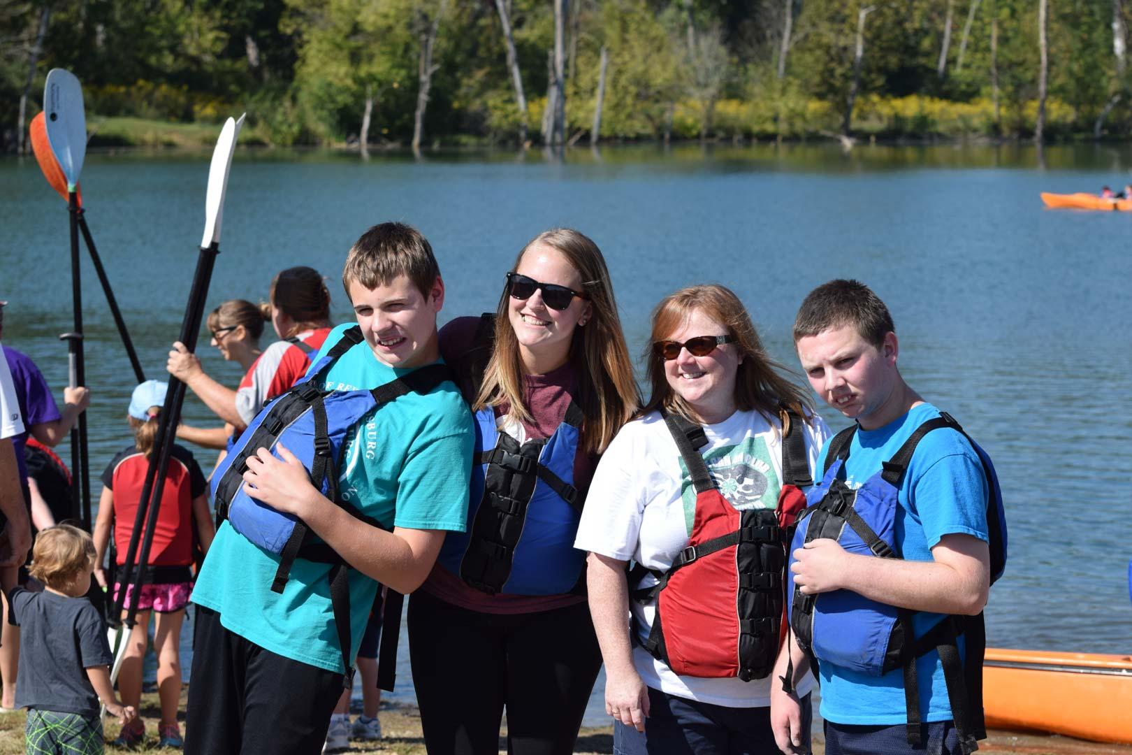 Kayakers at Prairie Oaks' Adaptive Adventures program. (photo Bryan Knowles)