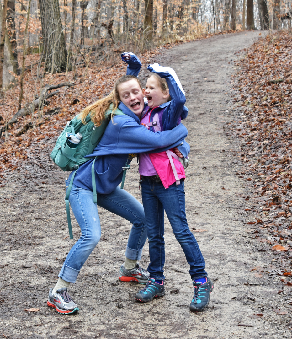 Girls Just Wanna Have Fun! Rachel and Abbie Gleason share a precious moment on the Dripping Rock Trail at Highbanks.