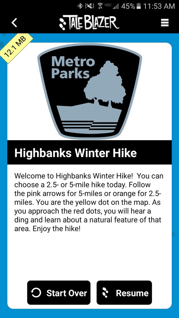 The Highbanks Winter Hike introduction page on TaleBlazer.