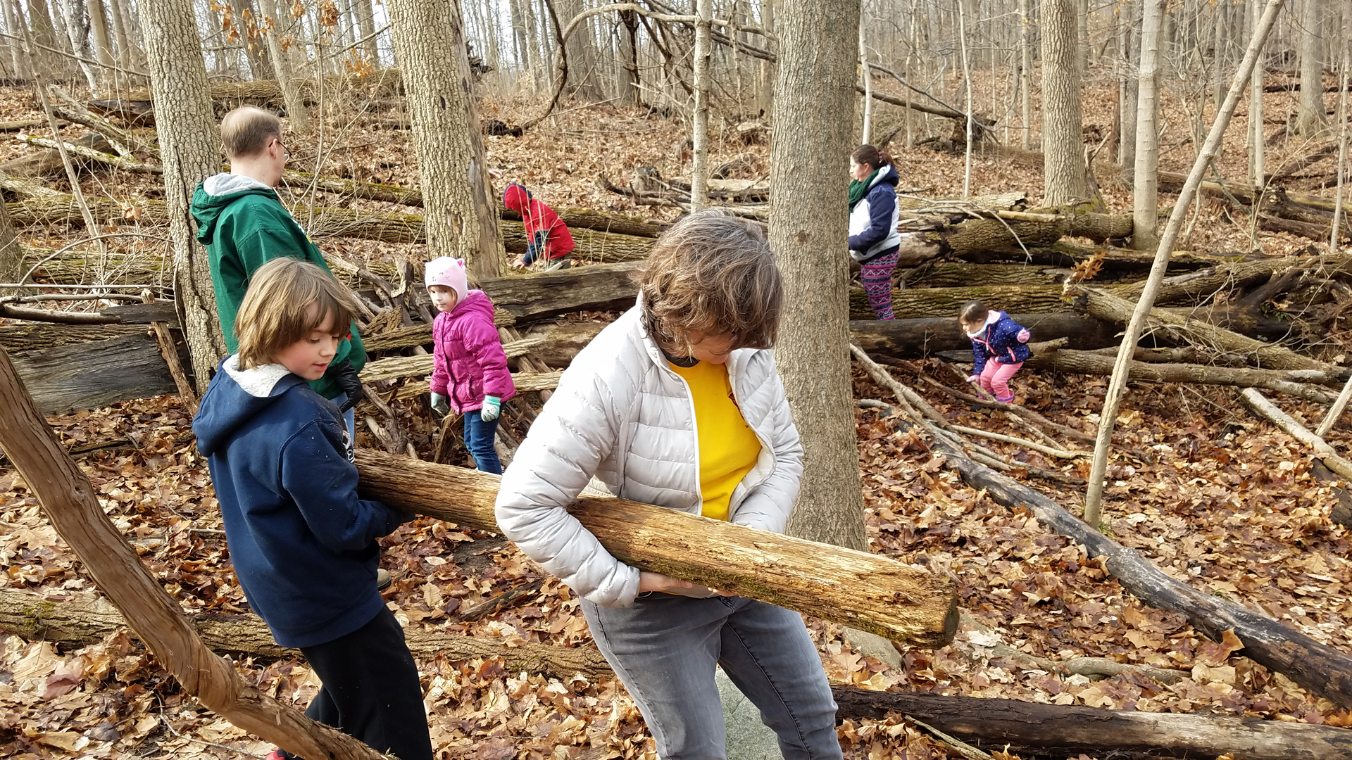 Adult helper lends a hand as a young fort builder transports a log to the fort under construction in the natural play area at Sharon Woods. Allison Shaw