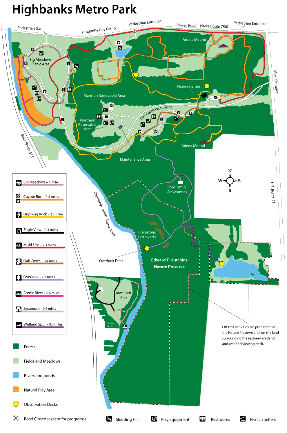 Highbanks Park Map - Metro Parks - Central Ohio Park System