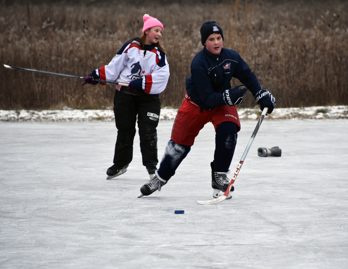 Pond hockey at Battelle Darby Creek skating pond. Photo by Tina Fronk.