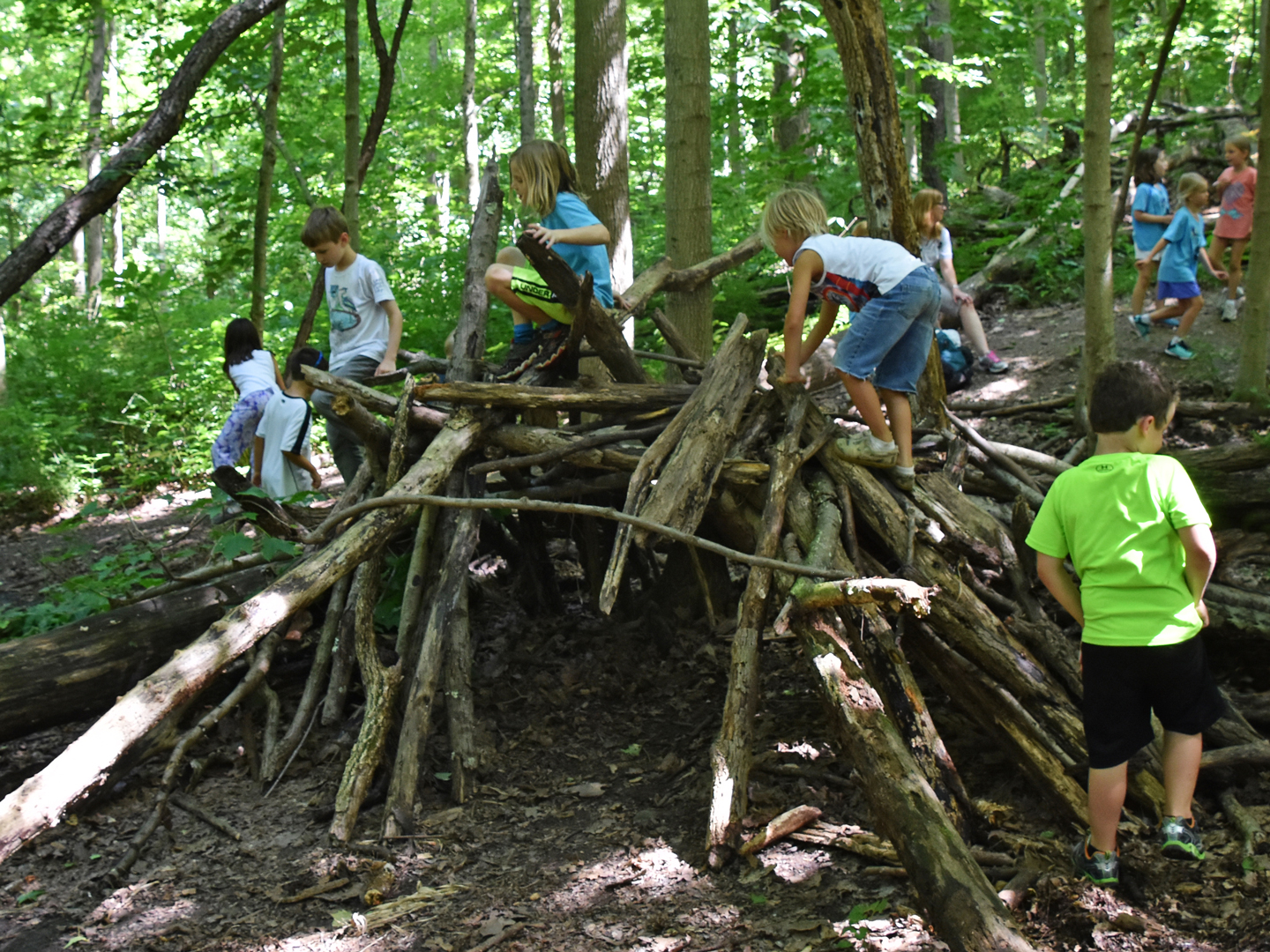 Kids climb over a fort built in natural play area at Sharon Woods