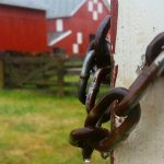 Close up of chain links with Slate Run Farm barn behind