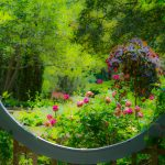 View through the gazebo oval into the Herb Garden at Inniswood