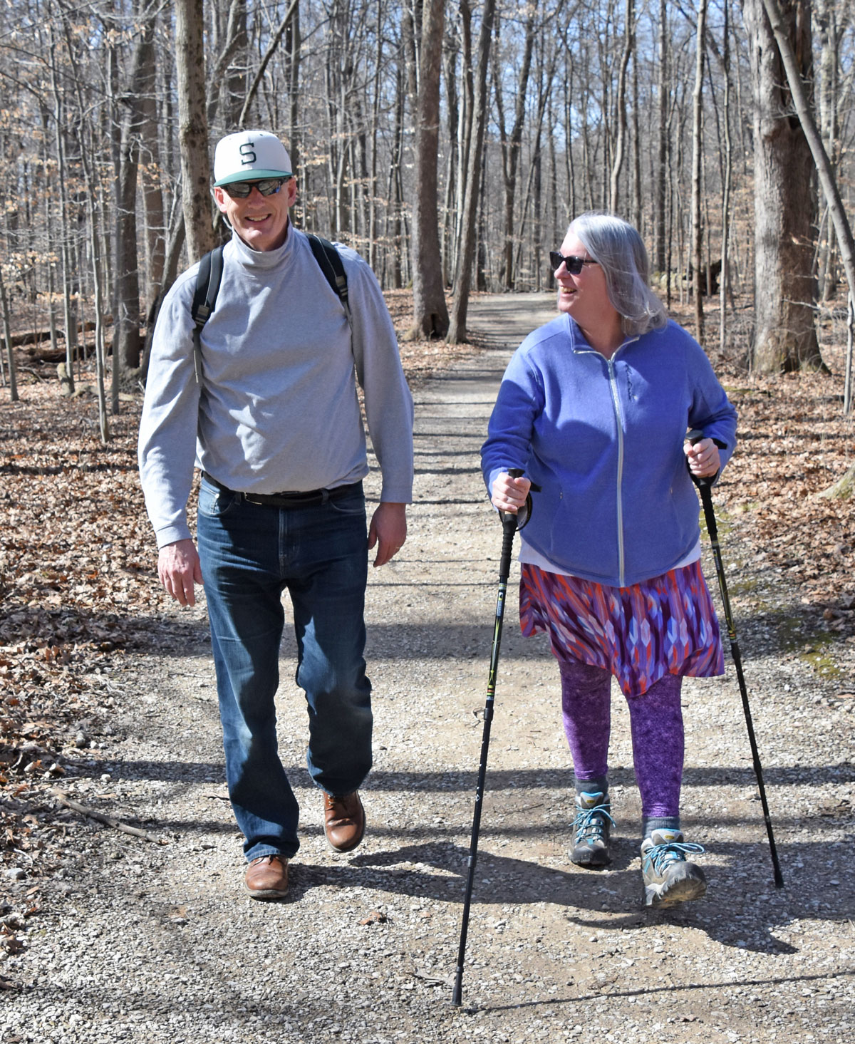 Metro Parks make life better for a Michigan couple that moved to Central Ohio. Here they walk on the Overlook Trail at Highbanks on a sunny February day