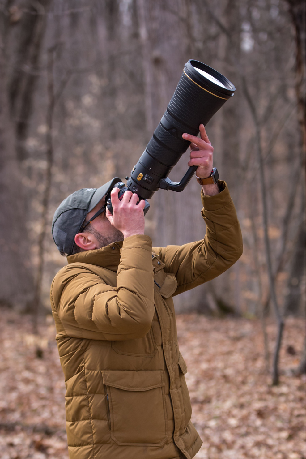 Adam Brandemihl uses a 600mm lens at Highbanks to pursue his bird photography passion
