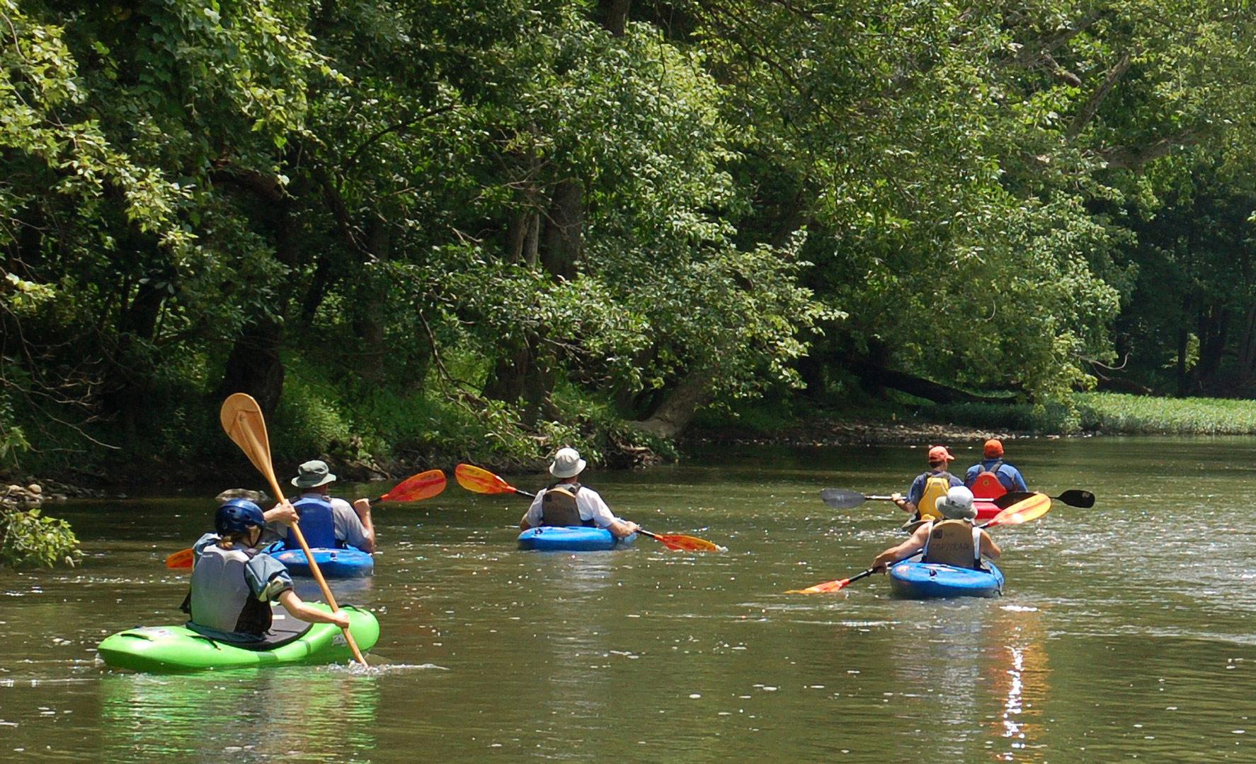 Kayakers float down Big Darby Creek