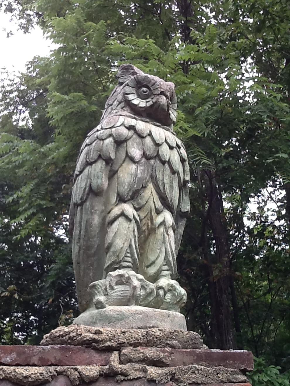 Guardian owl at Inniswood's Secret Garden