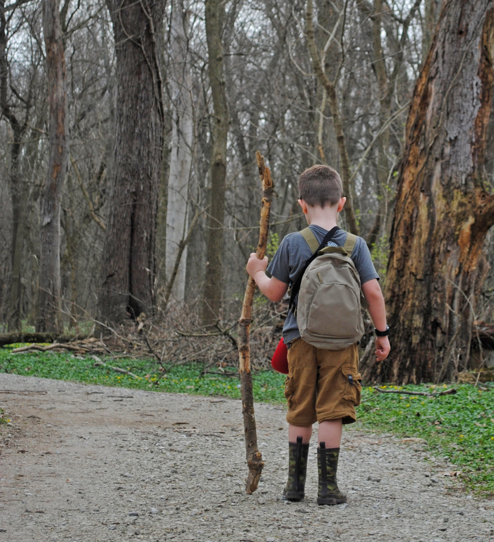 Young backpacker on REI River Trail at Scioto Grove
