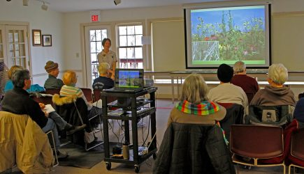 Cheryl Blair, photographer, 6389 Pinehurst Pointe, Westerville OH 43082  (Tel 614.882.4428). Educator Colleen Sharkey hosts a presentation at Innis House for a Metro Five-0 Gardening for Birds program. March 19, 2016.