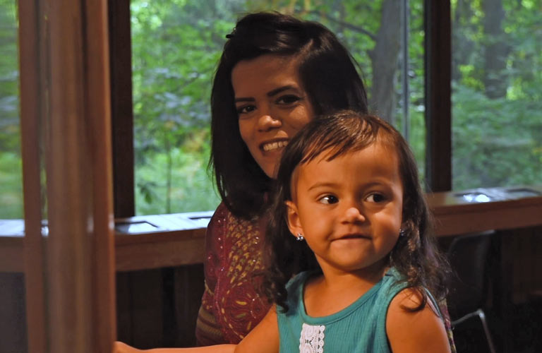 Hibah Ayaz and her daughter at Blacklick Woods Metro Park
