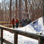 Hikers on the boardwalk at Chestnut Ridge on a snowy day