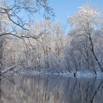 Big Walnut Creek with snow and ice in Three Creeks Metro Park