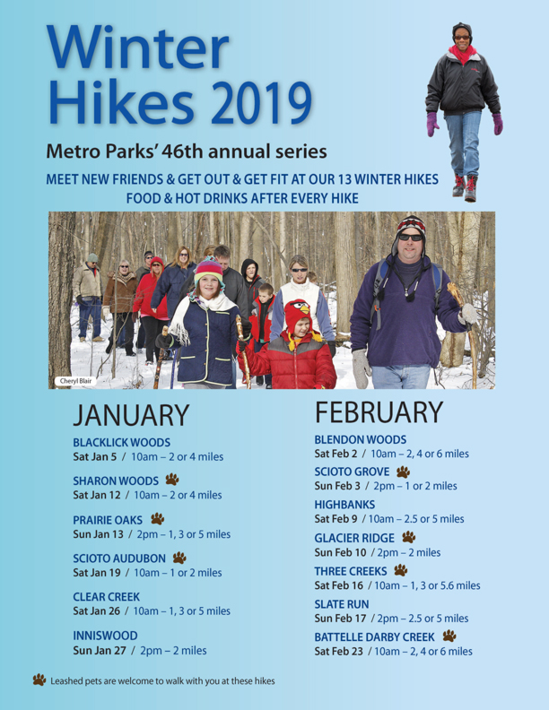 Flyer with schedule of Columbus & Franklin County Metro Parks winter hikes for 2019