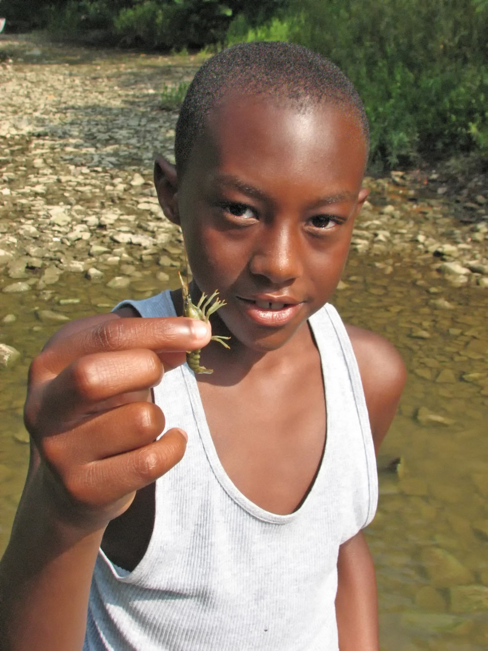 Young boy holds up a crayfish he foiund while creeking at Highbanks Metro Park