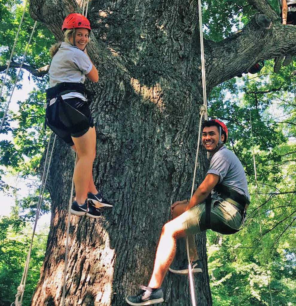 Two camp counsellors climb a huge white oak using double ropes and friction knots