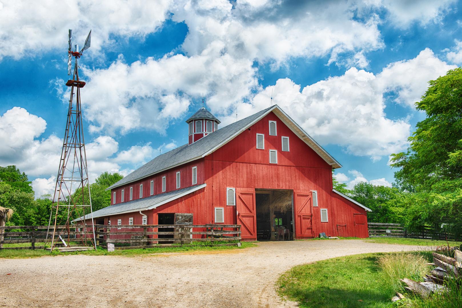 The barn and windmill at Slate Run Living Historical Farm.