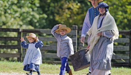 Slate Run Farm volunteers in 19th-century costume.