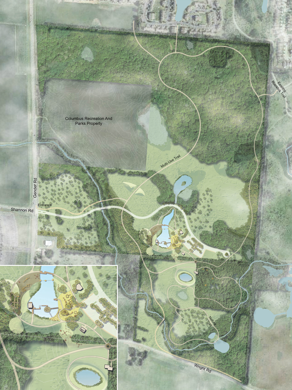 Conceptual map of the Burning Lake area at Pickerington Ponds Metro Park