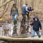 Visitors in a vernal pool at Sharon Woods Metro Park for a monitoring program