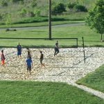 A game of sand volleyball on the courts at Scioto Audubon Metro Park