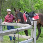 Rider and tethered horse at Slate Run Metro Park