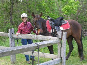 Rider and tethered horse at Slate Run Metro Park