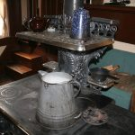 Milk urn on the stove at Slate Run Living Historical Farm