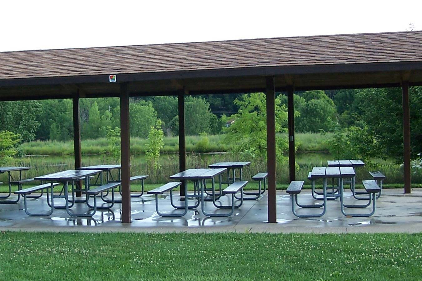 Picnic shelter near fishing pond at Chestnut Ridge.