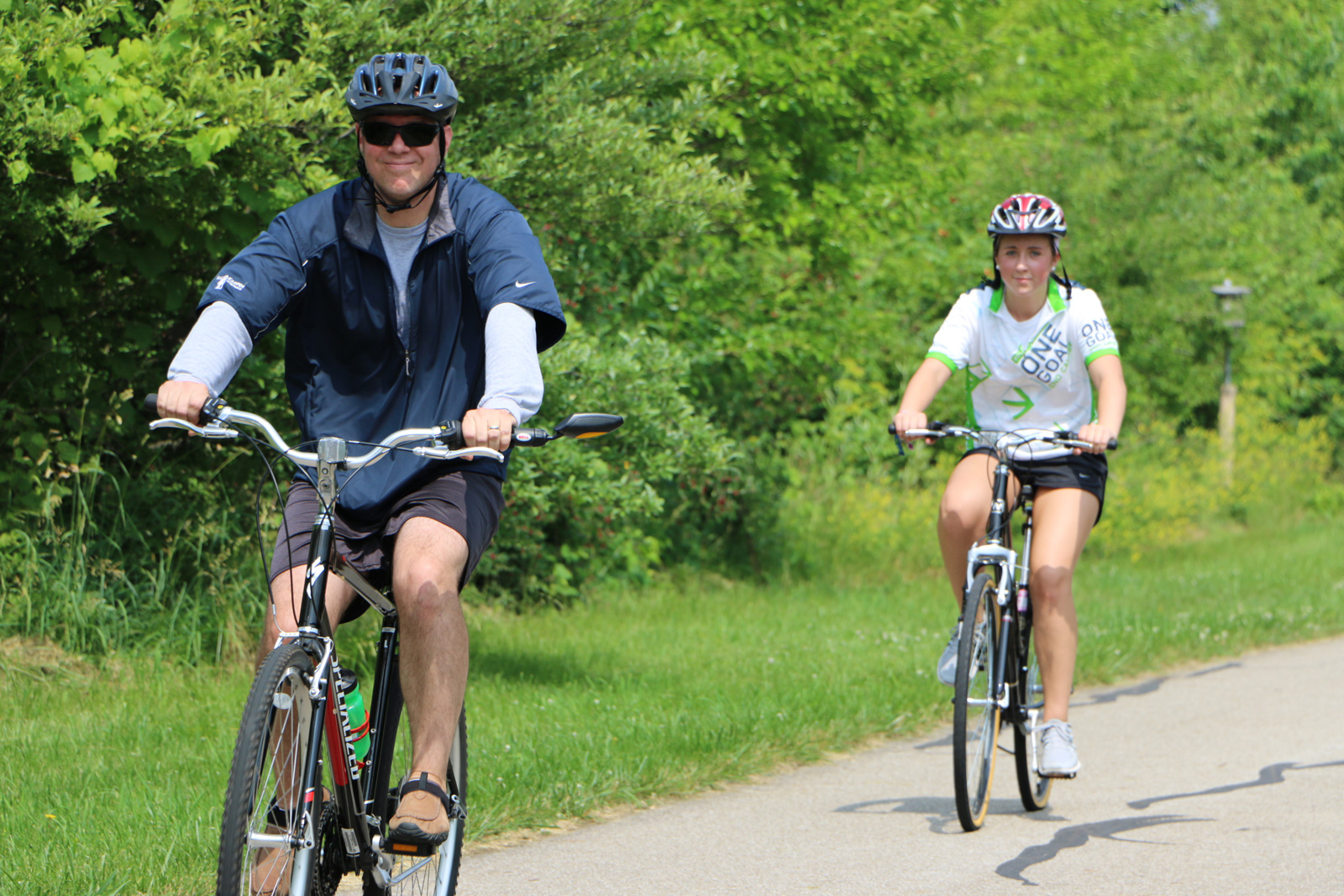 Bikers on the 0.75-mile MultiUse Trail at Homestead Metro Park.