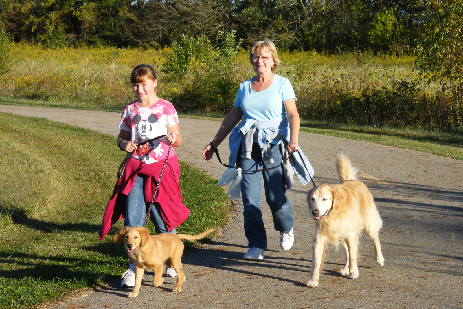 Walkers with their dogs on the Blacklick Creek Greenway Trail at Pickerington Ponds.