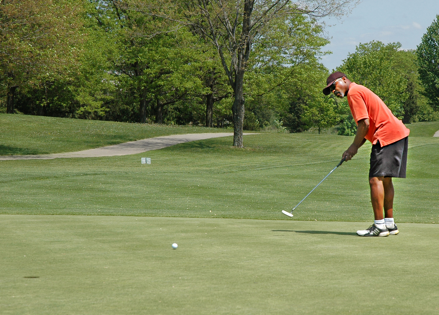 A golfer putting on the 6th green at Blacklick Woods Golf Courses' Gold Course