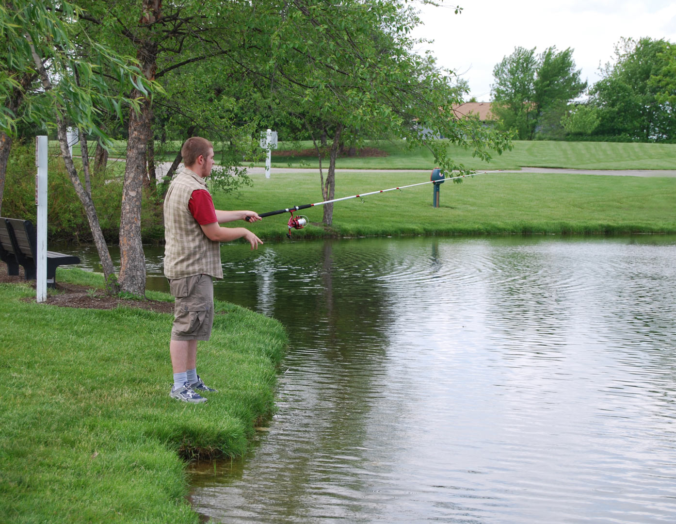 Fishing at the pond at Homestead