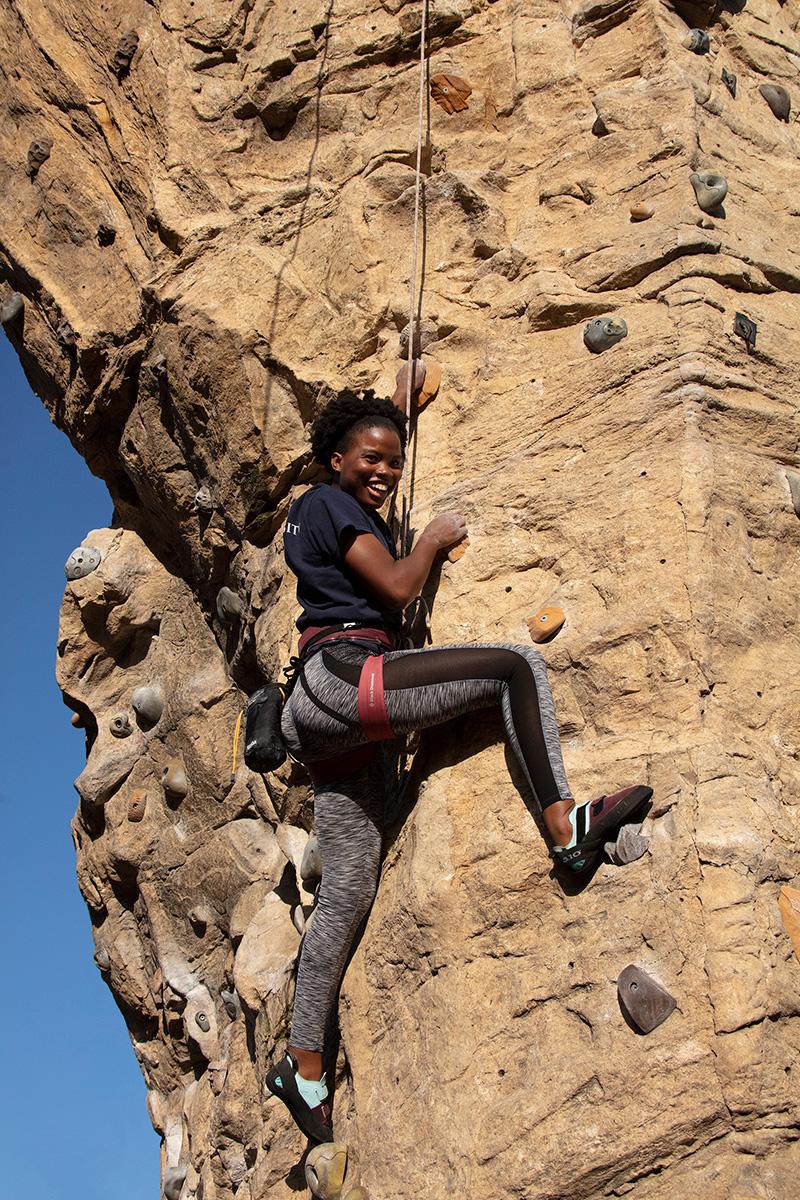 Girl on climbing wall at Scioto Audubon