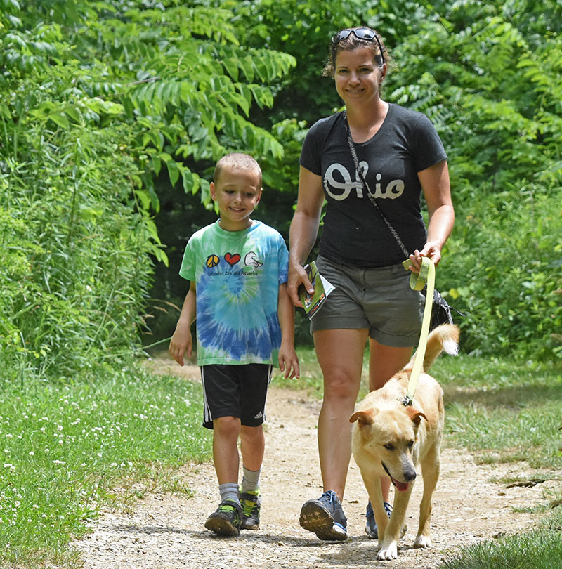 Highbanks Metro Park Mom, Son, and Furry Friend on Trail