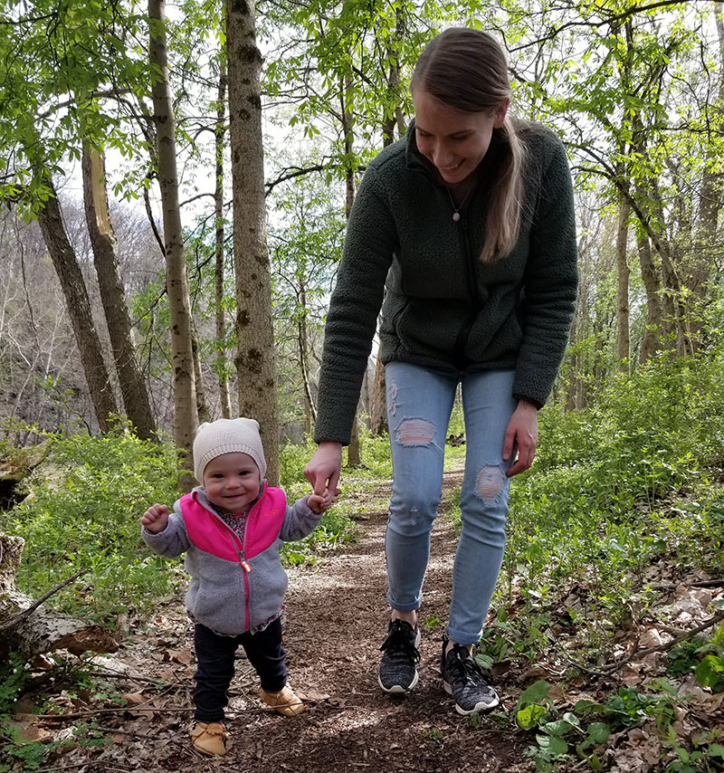Woman and child walk on the Sycamore Trail at the River Bluff area at Highbanks Metro Park