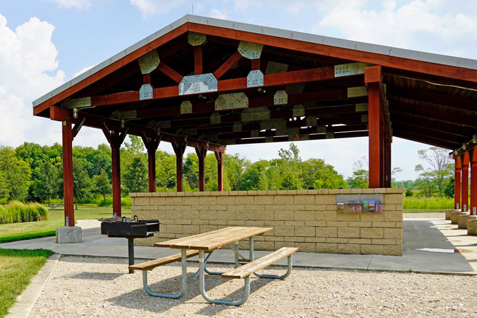 Whispering oaks picnic area at Prairie Oaks Metro Park