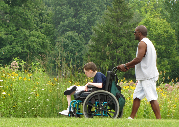 Wheelchair visitor at Sharon Woods Metro Park