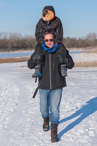 Shoulder Ride at Winter Hike at Prairie Oaks Metro Park