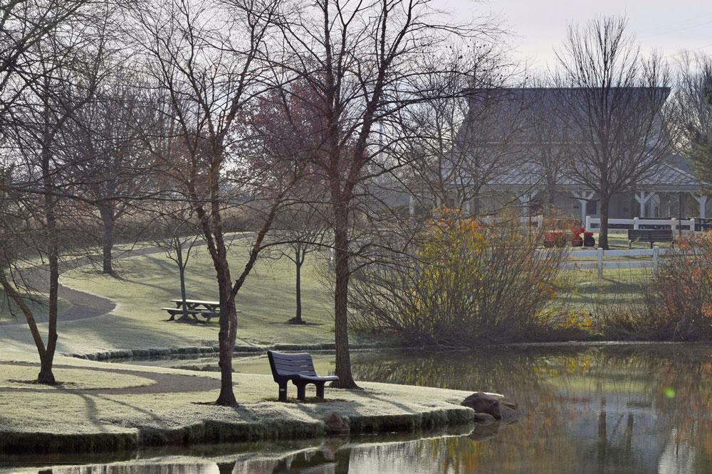 Homestead Nature Center across pond