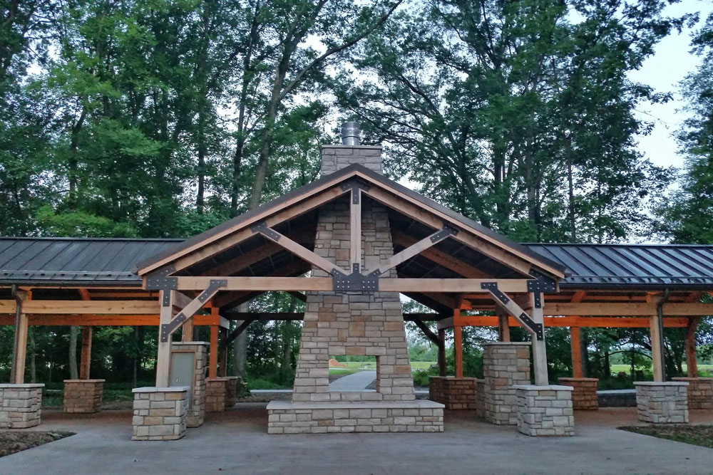 Picnic shelter in the Millstone Picnic Area at Rocky Fork.
